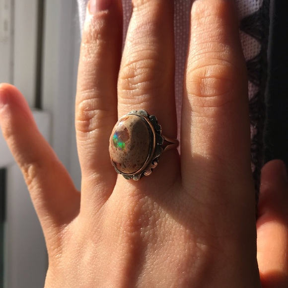 opal ring statement ring Mexican cantera opal Mexican fire opal ring Large opal ring